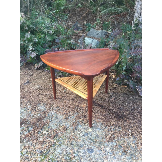 Danish Modern Teak & Cane Side Table - Image 4 of 9