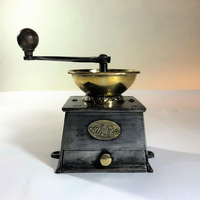 Antique English Steel and Brass Coffee Mill, Circa 1860. For Sale In New Orleans - Image 6 of 6
