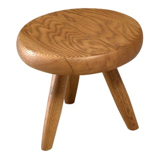 Charlotte Perriand low ash tripod stool from Les Arcs, France, 1960s For Sale