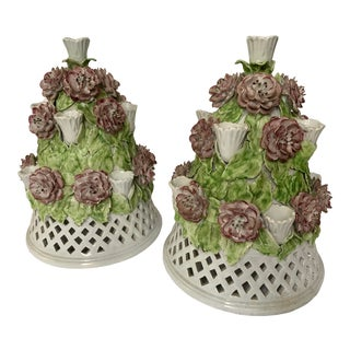 Floral Italian Porcelain Table Candelabra - a Pair For Sale