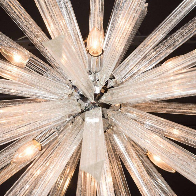 Metal Murano Glass Triedre Chrome Sputnik Chandelier with 24-Carat White Gold Flecks For Sale - Image 7 of 9