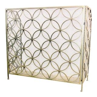3-Panel Modern Metal Fireplace Screen For Sale