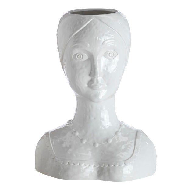 White Glazed Ceramic Female Head Vase For Sale