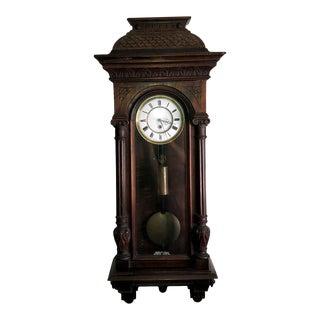 "Antique Art Nouveau ""Haus"" Style Vienna Regulator Wall Clock For Sale"