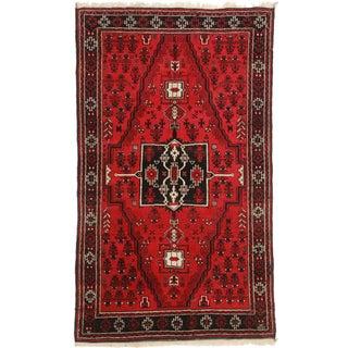 """Vintage Afghan Wool Rug - 3′6″ × 5′11"""" For Sale"""