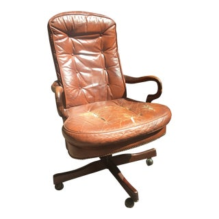 1980s Vintage Brown Leather Swivel Desk Chair For Sale