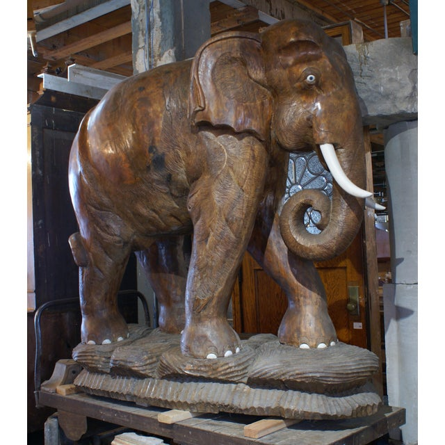 Large Carved Teak Elephant For Sale In Chicago - Image 6 of 6