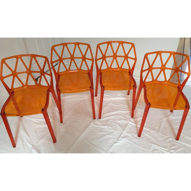 1980s Calligaris Alchemia Dining Chairs in Orange - Set of 12 For Sale - Image 5 of 13