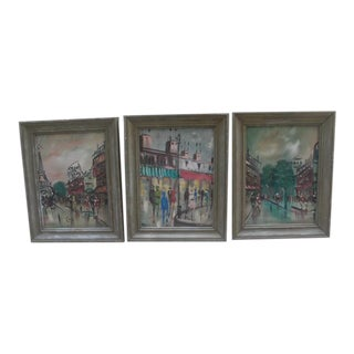 Mid 20th Century Modern French Parisian Cityscape Paintings, Framed - Set of 3 For Sale