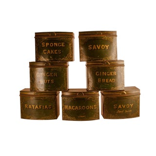 Circa 1870 English Tole Bakery Tins - Set of 7 For Sale