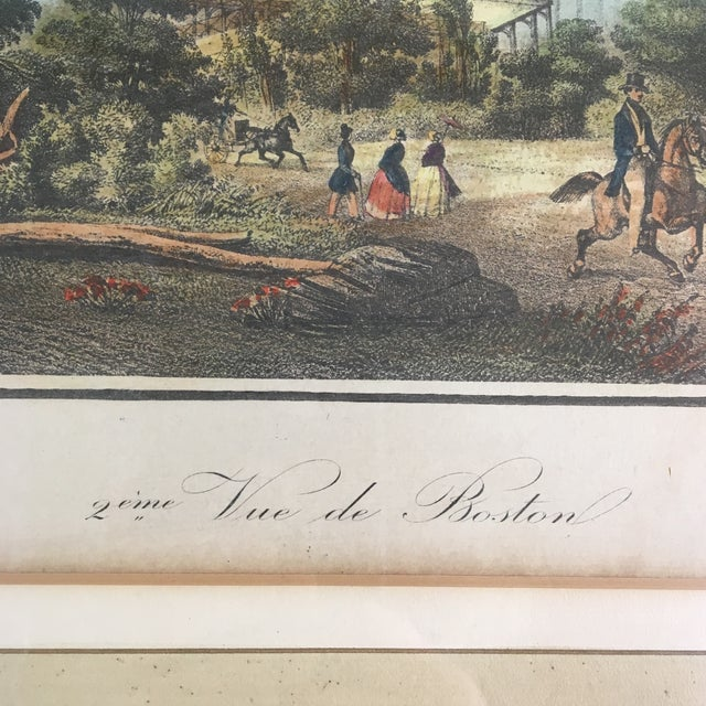 Early 18th Century Early 19th Century Lithograph of Boston (Deuxieme Vue De Boston) by Le Breton, Framed For Sale - Image 5 of 7