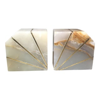 Mid-Century Vintage Onyx Bookends- A Pair For Sale