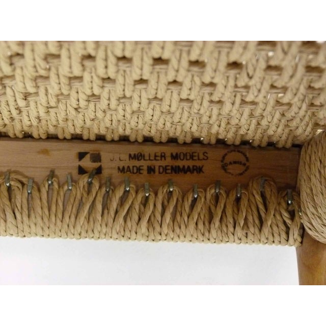 Jl Moller Danish Modern Rush & Teak Bench - Image 4 of 4