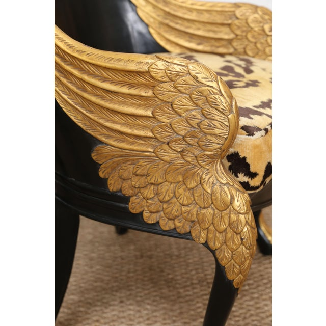 French Empire Armchairs Upholstered in Clarence House Tiger Velvet - a Pair For Sale - Image 4 of 11