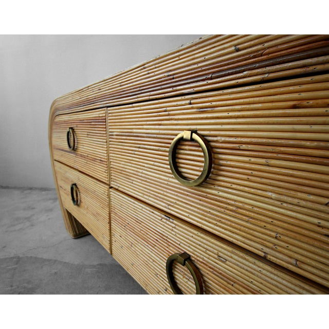 Gabriella Crespi Vintage Reeded Bamboo Wicker Ratan Dresser Credenza For Sale - Image 4 of 7