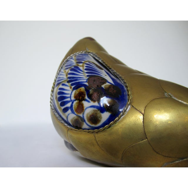 Vintage Mexican Ceramic Pottery & Brass Scaled Bustemante-Style Duck For Sale - Image 11 of 13