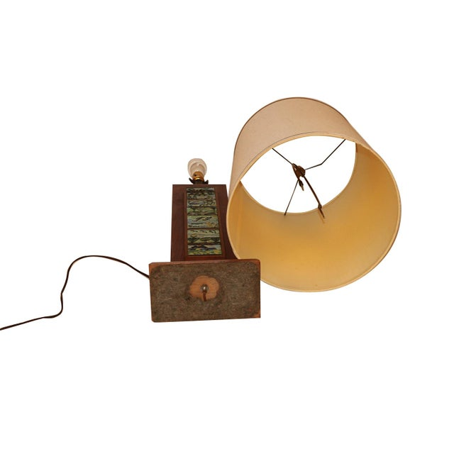 Harris Strong Mid Century Wood Tile Lamp For Sale - Image 9 of 10