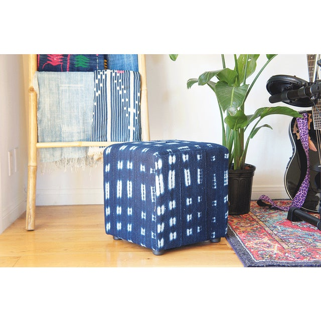 Vintage African Indigo Mudcloth Cube Ottoman For Sale - Image 4 of 4