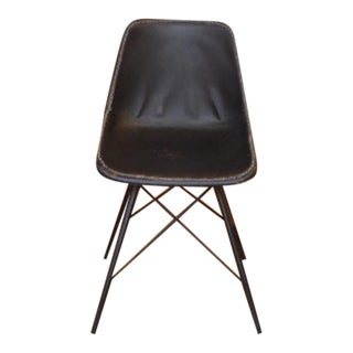 Black Leather Modern Industrial Chair For Sale