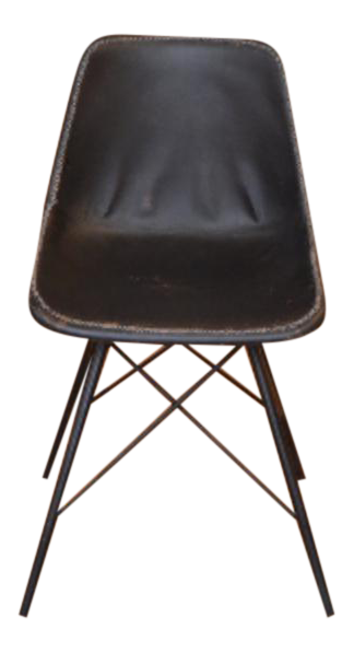 Black Leather Modern Industrial Chair