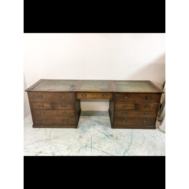 19th-C. English Oak Map Chest Desk - Image 8 of 9