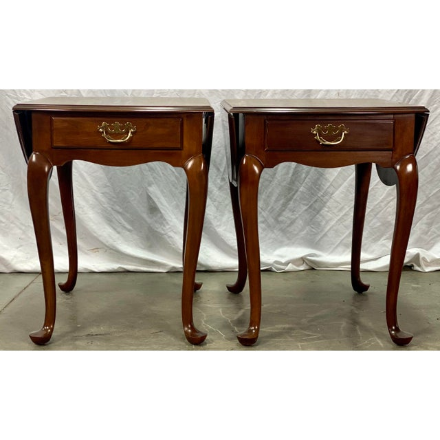 Vintage Drexel Solid Cherry Pembroke Drop Leaf Side Tables For Sale In Greensboro - Image 6 of 13