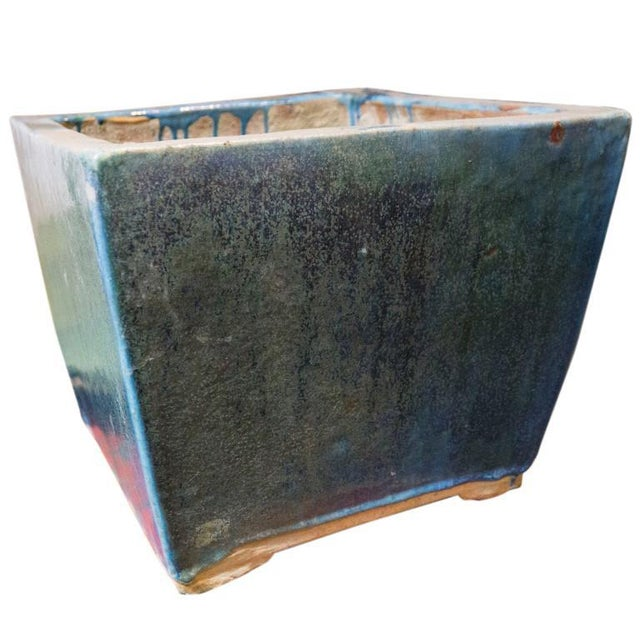 Mid 20th Century Blue and Green Glazed 20th Century Square Planter For Sale - Image 5 of 6