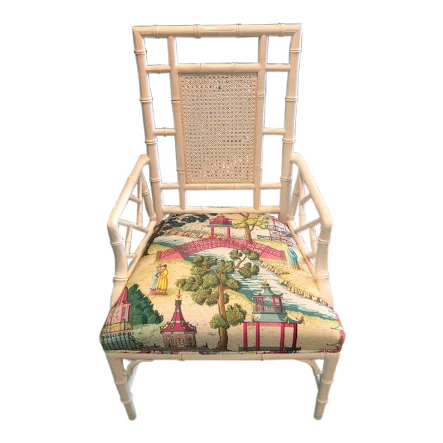 Chinese Chippendale Chair With Manuel Canovas Fabric Seat For Sale