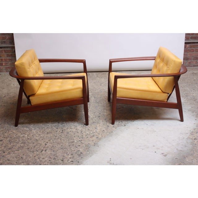 Mid-Century Modern Folke Ohlsson for Dux Swedish Modern Leather and Teak Lounge Chairs- A Pair For Sale - Image 3 of 13