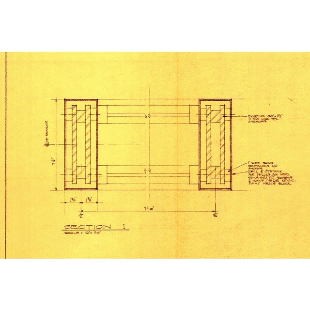 Bauhaus Original Mies Van Der Rohe Blueprint From 1964, Illuminated Wall Details For Sale - Image 3 of 12