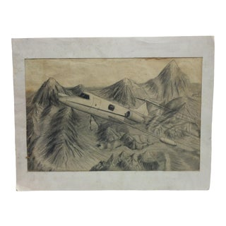 """Matted Original Drawing """"Lear Jet"""" by Mark Maness For Sale"""