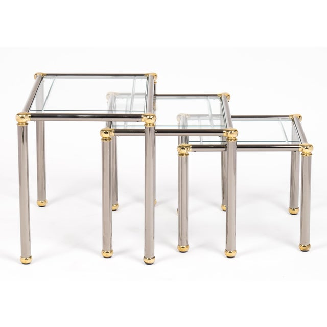 Mid-Century Modern Vintage Set of Gunmetal and Brass Nesting Tables For Sale - Image 3 of 11