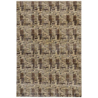 Vintage Turkish Art Deco Style Zeki Muren Distressed Rug - 6′10″ × 9′10″ For Sale