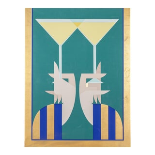 "1980s Giancarlo Impiglia, ""A Toast"", Art Deco Screenprint For Sale"