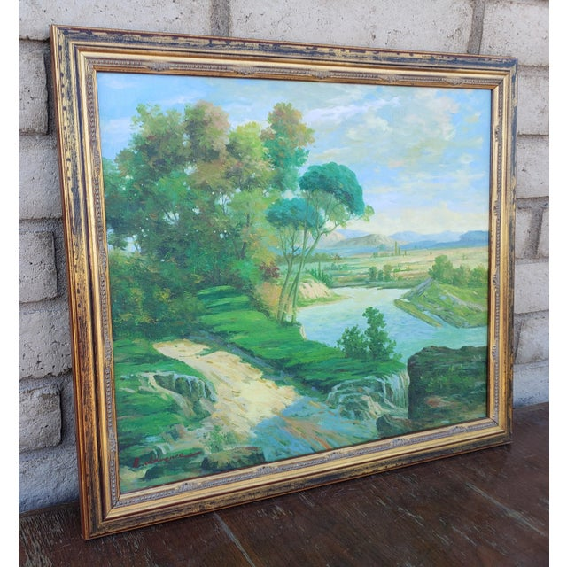 Original Riverside Landscape Oil Painting on Canvas by Unknown artist. Signed by artist Lower Left. Subject: Riverside...