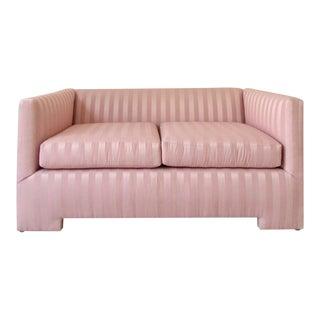 1980s Vintage Postmodern Pink Striped Loveseat For Sale