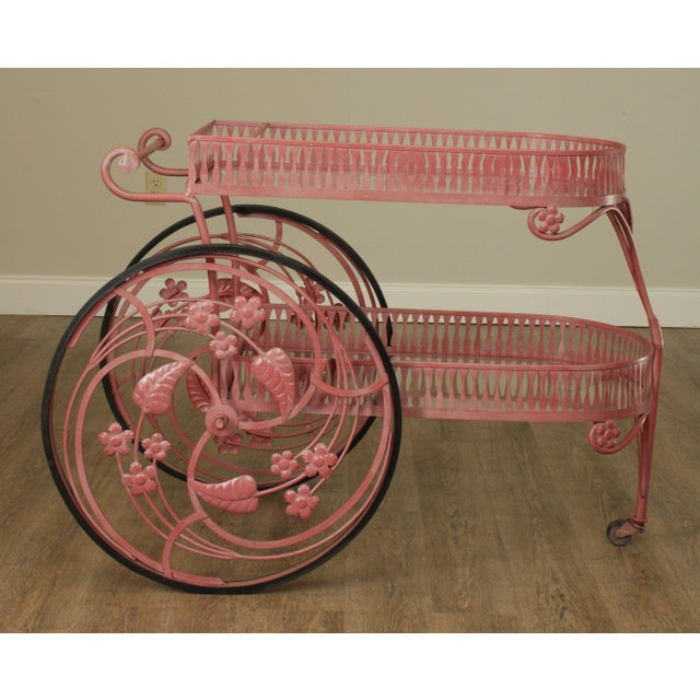 Hollywood Regency Salterini Vintage Ornate Wrought Iron 2 Tier Bar Cart For Sale - Image 3 of 13