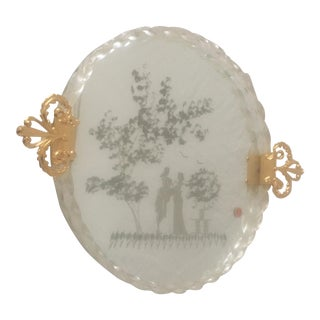 Murano Etched Love Story Mirrored Tray