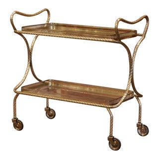 Early 20th Century French Brass Bar Cart on Wheels From Maison Jansen For Sale