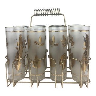 C.1950s Frosted Glasses With Wire Carrier - Set of 9 For Sale