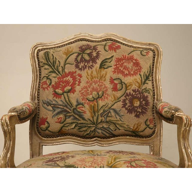 Mid 19th Century Original Paint Antique Italian Armchairs with Needlepoint - a pair For Sale - Image 5 of 10
