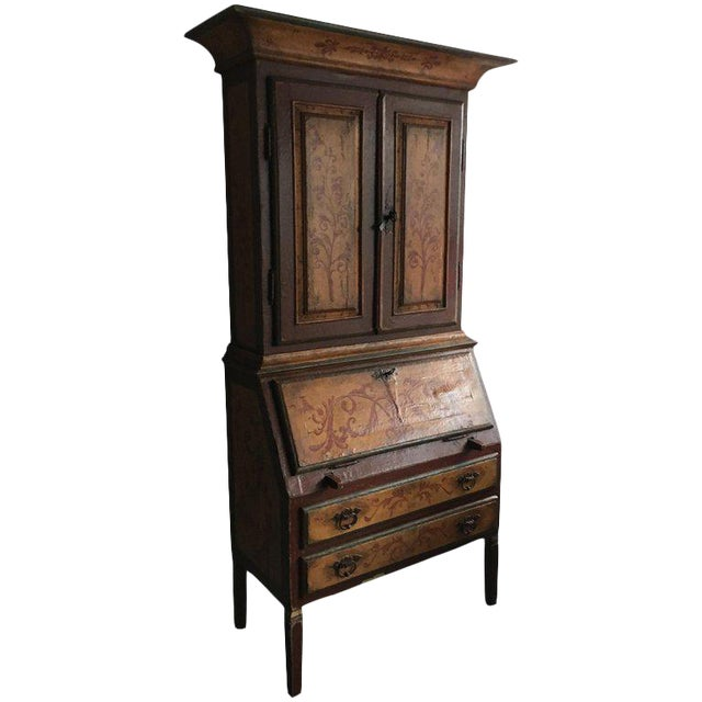 Italian Bureau Bookcase, Two Doors Over Slant Front Fitted Desk For Sale