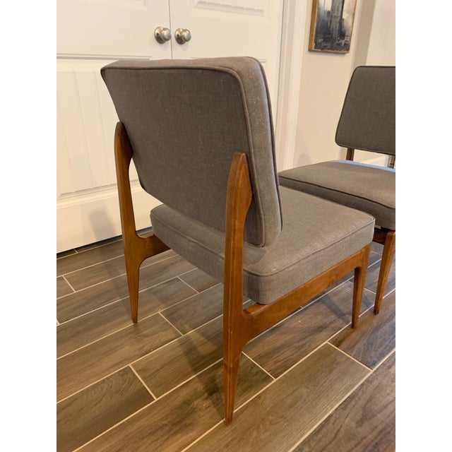 Cassina Pair of Mid-Century Gray Linen Chairs For Sale - Image 4 of 11