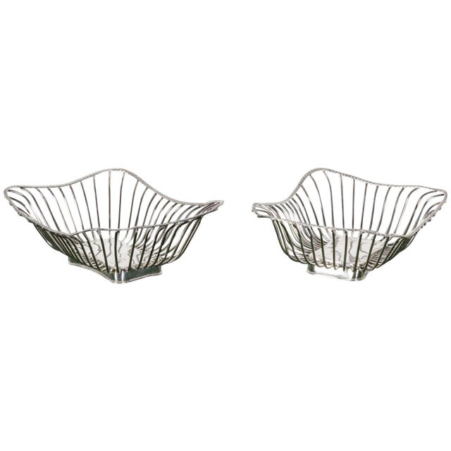 Silver Pair of Italian Silver Plate Wire Baskets For Sale - Image 8 of 8