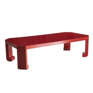 Red High Gloss Lacquer Coffee Table Atrributed to Karl Springer