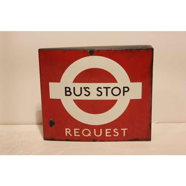 """Great vintage English porcelain double sided """" Bus Stop """" sign."""