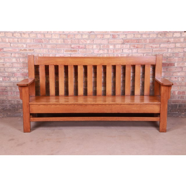 Antique Stickley Style Arts & Crafts Solid Oak Settle or Bench For Sale - Image 13 of 13