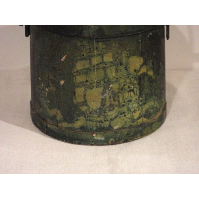 19th Century Nautical Original Painted and Decorated Water Bucket from NE - Image 7 of 8