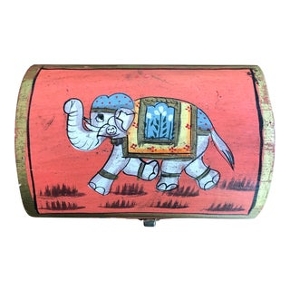 Indian Hand Painted Box With Elephant For Sale
