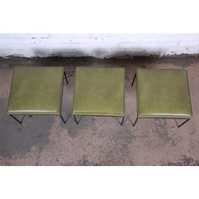 1950s Paul McCobb Upholstered Iron Stools or Ottomans, Set of Three For Sale - Image 5 of 12